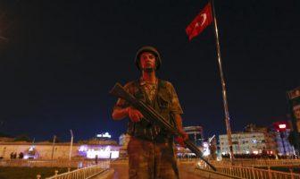 A Turkish military stands guard near the Taksim Square in Istanbul, Turkey, July 15, 2016.   REUTERS/Murad Sezer - RTSI72G